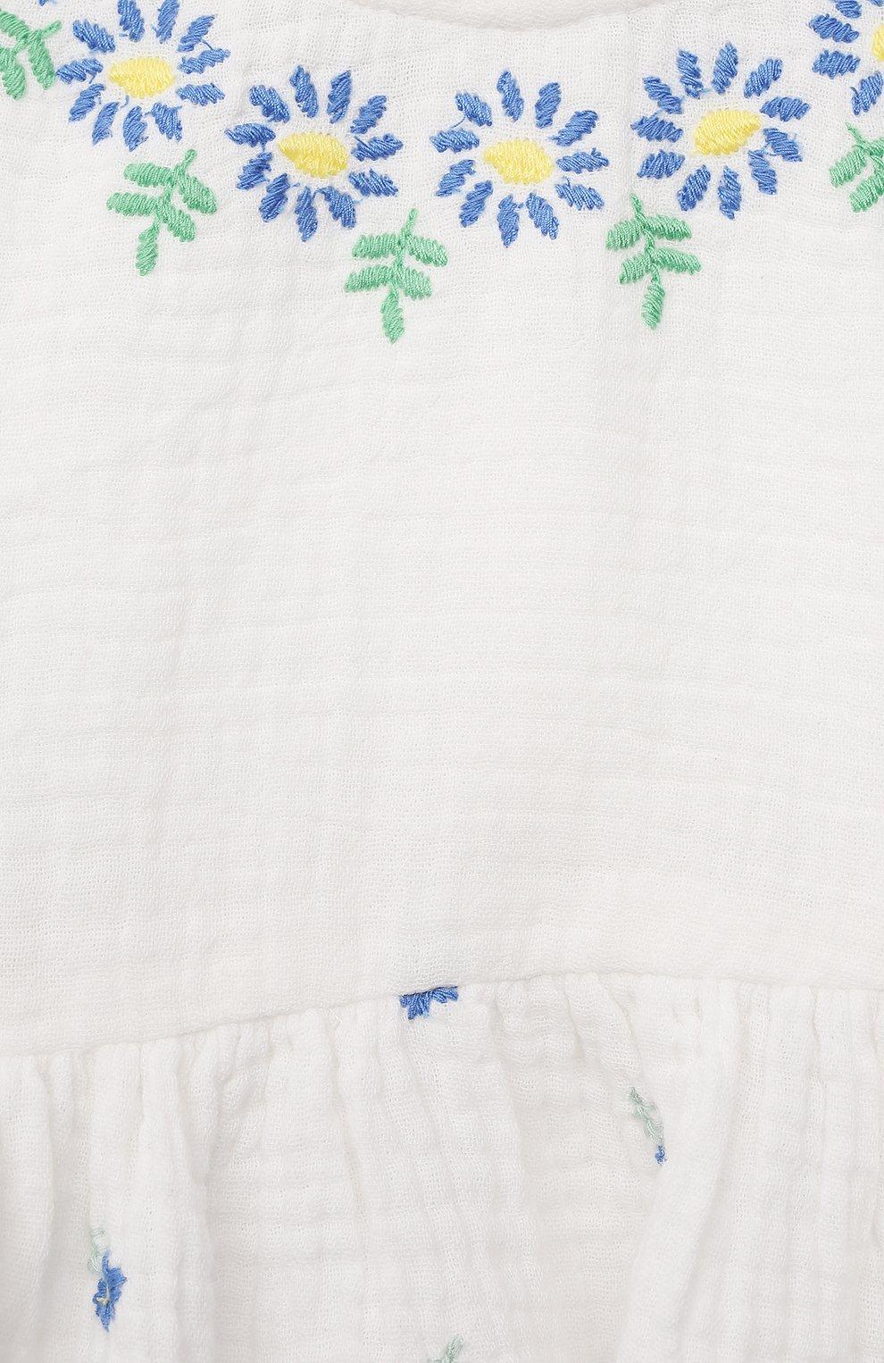 Детского комплект из платья и шорт STELLA MCCARTNEY белого цвета, арт. 602545/SQKD3 | Фото 6 (Материал внешний: Хлопок; Ростовка одежда: 9 мес | 74 см, 12 мес | 80 см, 18 мес | 86 см, 24 мес | 92 см, 3 мес | 62 см, 6 мес | 68 см)