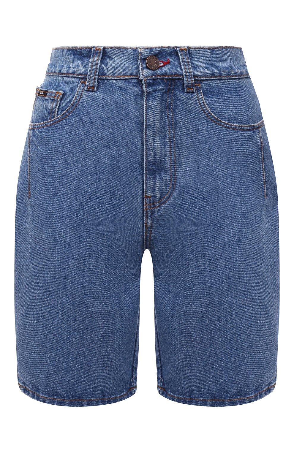 Женские джинсовые шорты BLCV голубого цвета, арт. 1243VH | Фото 1 (Женское Кросс-КТ: Шорты-одежда; Кросс-КТ: Деним; Длина Ж (юбки, платья, шорты): Мини; Материал внешний: Хлопок; Стили: Спорт-шик)