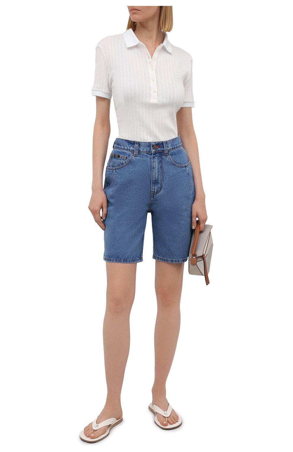 Женские джинсовые шорты BLCV голубого цвета, арт. 1243VH | Фото 2 (Женское Кросс-КТ: Шорты-одежда; Кросс-КТ: Деним; Длина Ж (юбки, платья, шорты): Мини; Материал внешний: Хлопок; Стили: Спорт-шик)