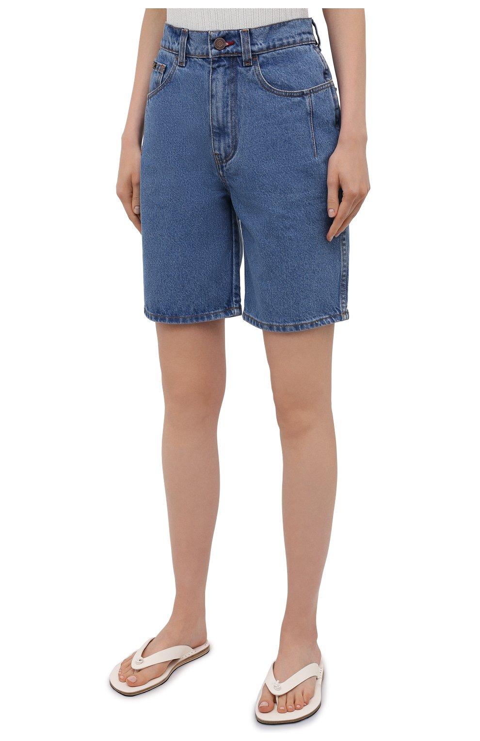 Женские джинсовые шорты BLCV голубого цвета, арт. 1243VH | Фото 3 (Женское Кросс-КТ: Шорты-одежда; Кросс-КТ: Деним; Длина Ж (юбки, платья, шорты): Мини; Материал внешний: Хлопок; Стили: Спорт-шик)