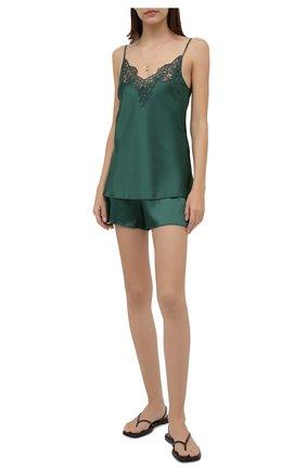 Женская шелковая пижама I.D. SARRIERI зеленого цвета, арт. J5338-J5395 | Фото 1 (Длина (для топов): Стандартные; Длина Ж (юбки, платья, шорты): Мини; Материал внешний: Шелк)