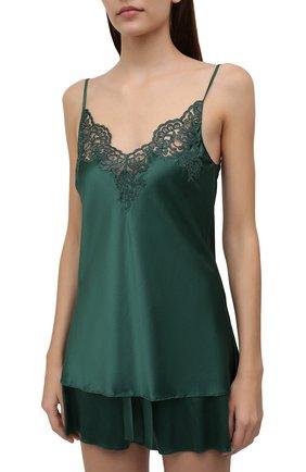 Женская шелковая пижама I.D. SARRIERI зеленого цвета, арт. J5338-J5395 | Фото 2 (Длина (для топов): Стандартные; Длина Ж (юбки, платья, шорты): Мини; Материал внешний: Шелк)