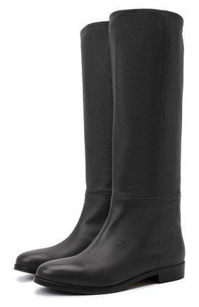 Женские кожаные сапоги KITON темно-серого цвета, арт. D52801X04R81 | Фото 1 (Материал внутренний: Натуральная кожа; Каблук тип: Устойчивый; Каблук высота: Низкий)
