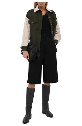 Женские кожаные сапоги KITON темно-серого цвета, арт. D52801X04R81 | Фото 2 (Материал внутренний: Натуральная кожа; Каблук тип: Устойчивый; Каблук высота: Низкий)