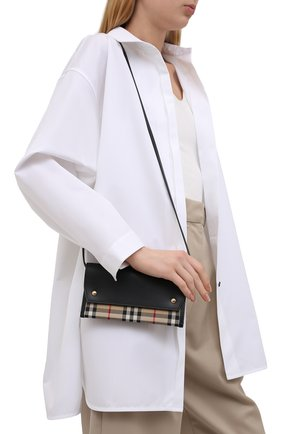 Женская сумка check small BURBERRY черного цвета, арт. 8041802 | Фото 2 (Размер: small; Ремень/цепочка: На ремешке; Сумки-технические: Сумки через плечо)