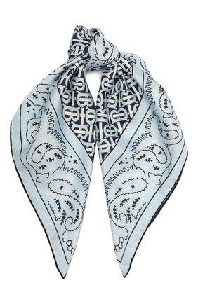 Женский шелковый платок BURBERRY голубого цвета, арт. 8041770 | Фото 1