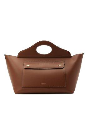 Женский сумка-тоут pocket bag small BURBERRY коричневого цвета, арт. 8041746 | Фото 1 (Материал: Натуральная кожа; Сумки-технические: Сумки-шопперы; Размер: small)