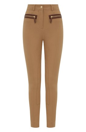 Женские хлопковые брюки BURBERRY бежевого цвета, арт. 8041612 | Фото 1