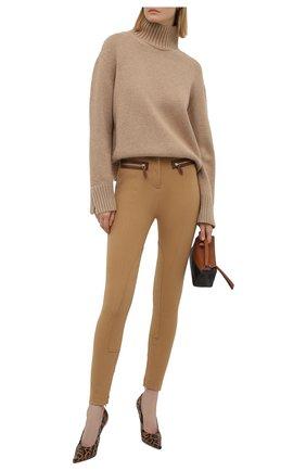 Женские хлопковые брюки BURBERRY бежевого цвета, арт. 8041612 | Фото 2