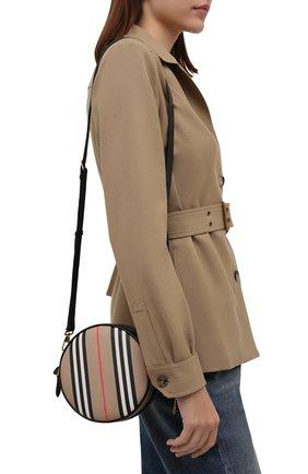 Женская сумка heritage stripe BURBERRY бежевого цвета, арт. 8027293 | Фото 2 (Ремень/цепочка: На ремешке; Размер: mini; Материал: Экокожа; Сумки-технические: Сумки через плечо)