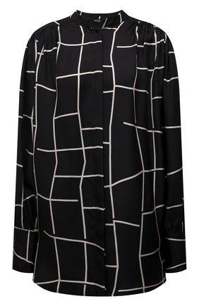 Женская шелковая рубашка KITON черно-белого цвета, арт. D52412K0560A | Фото 1 (Рукава: Длинные; Материал внешний: Шелк; Стили: Кэжуэл; Женское Кросс-КТ: Рубашка-одежда)