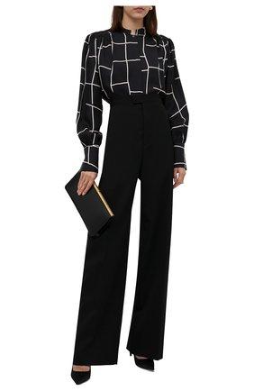 Женская шелковая рубашка KITON черно-белого цвета, арт. D52412K0560A | Фото 2 (Рукава: Длинные; Материал внешний: Шелк; Стили: Кэжуэл; Женское Кросс-КТ: Рубашка-одежда)