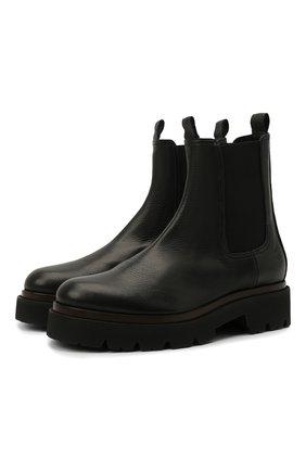 Женские кожаные ботинки KITON черного цвета, арт. D52803X04R81 | Фото 1 (Каблук высота: Низкий; Материал внутренний: Натуральная кожа; Женское Кросс-КТ: Челси-ботинки; Подошва: Платформа)