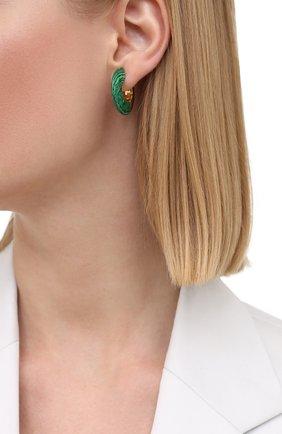 Женские серьги BOTTEGA VENETA зеленого цвета, арт. 657307/VCCU3 | Фото 2