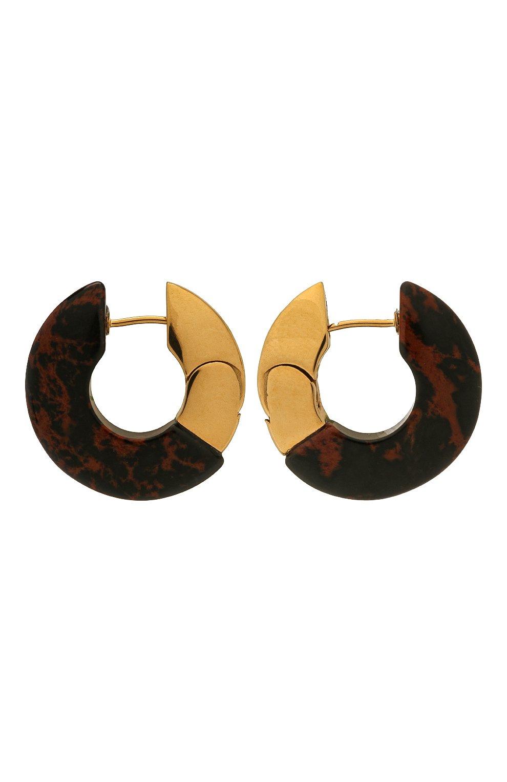Женские серьги BOTTEGA VENETA коричневого цвета, арт. 657307/V0081 | Фото 1 (Материал: Серебро)