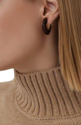 Женские серьги BOTTEGA VENETA коричневого цвета, арт. 657307/V0081 | Фото 2 (Материал: Серебро)
