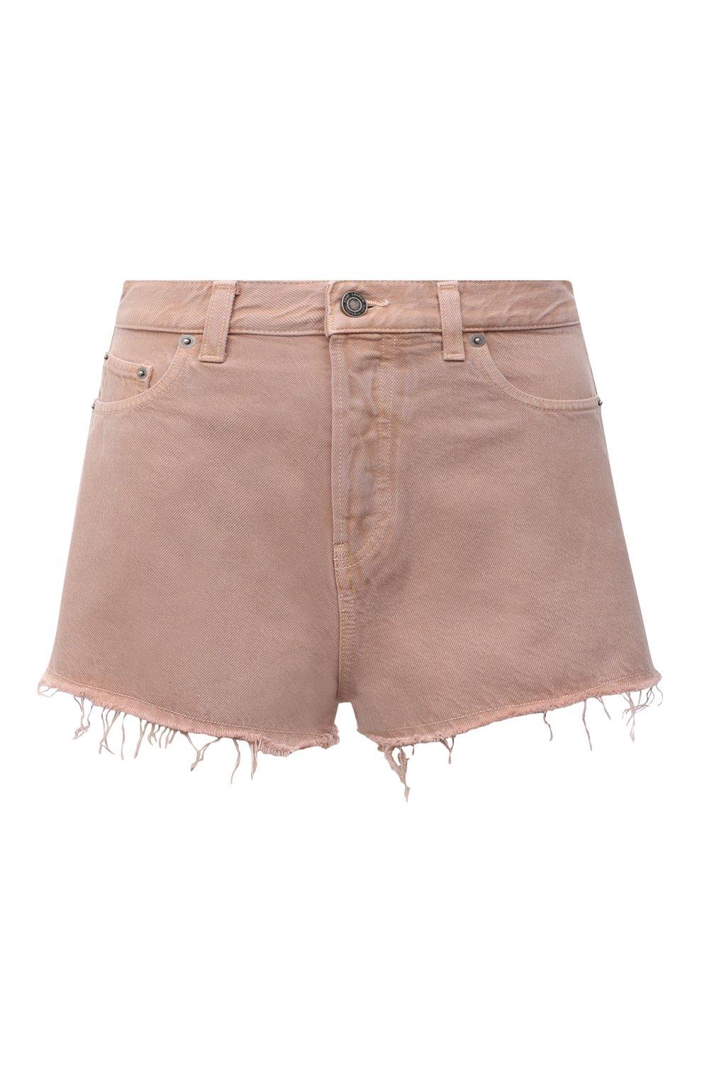 Женские джинсовые шорты SAINT LAURENT розового цвета, арт. 652530/Y23NM | Фото 1 (Женское Кросс-КТ: Шорты-одежда; Стили: Гламурный; Кросс-КТ: Деним; Длина Ж (юбки, платья, шорты): Мини; Материал внешний: Хлопок)
