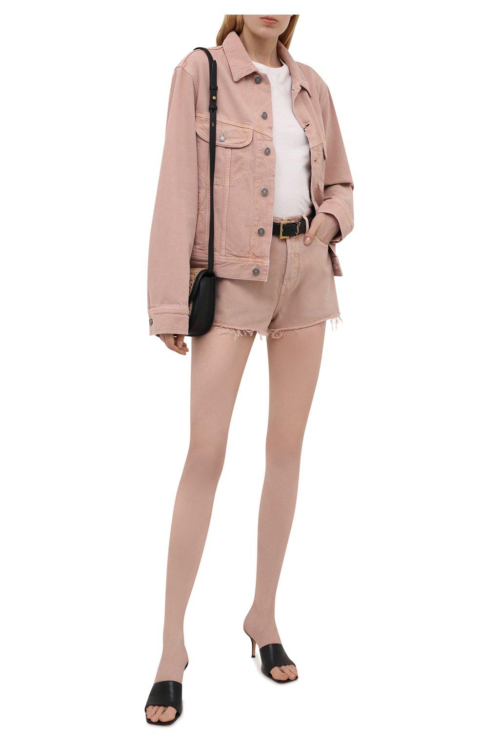 Женские джинсовые шорты SAINT LAURENT розового цвета, арт. 652530/Y23NM | Фото 2 (Женское Кросс-КТ: Шорты-одежда; Стили: Гламурный; Кросс-КТ: Деним; Длина Ж (юбки, платья, шорты): Мини; Материал внешний: Хлопок)