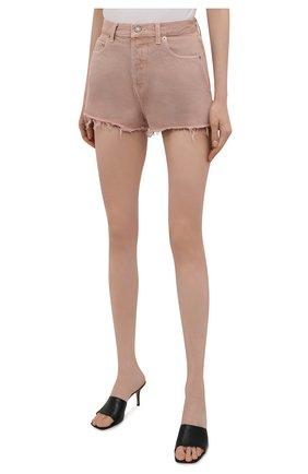 Женские джинсовые шорты SAINT LAURENT розового цвета, арт. 652530/Y23NM | Фото 3 (Женское Кросс-КТ: Шорты-одежда; Стили: Гламурный; Кросс-КТ: Деним; Длина Ж (юбки, платья, шорты): Мини; Материал внешний: Хлопок)
