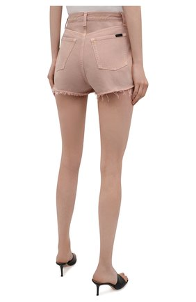 Женские джинсовые шорты SAINT LAURENT розового цвета, арт. 652530/Y23NM | Фото 4 (Женское Кросс-КТ: Шорты-одежда; Стили: Гламурный; Кросс-КТ: Деним; Длина Ж (юбки, платья, шорты): Мини; Материал внешний: Хлопок)
