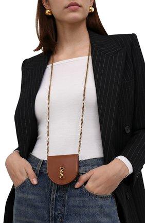 Женская сумка kaia mini SAINT LAURENT коричневого цвета, арт. 657818/BWR0W | Фото 2 (Материал: Натуральная кожа; Сумки-технические: Сумки через плечо; Размер: mini; Ремень/цепочка: На ремешке)