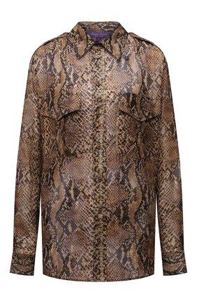 Женская шелковая рубашка RALPH LAUREN коричневого цвета, арт. 290834748 | Фото 1 (Материал внешний: Шелк; Рукава: Длинные; Длина (для топов): Стандартные; Женское Кросс-КТ: Рубашка-одежда)