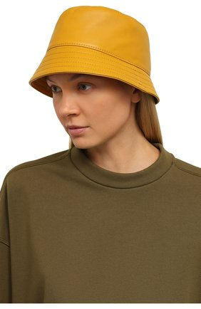 Женская кожаная панама LOEWE желтого цвета, арт. K000HB1X01   Фото 2