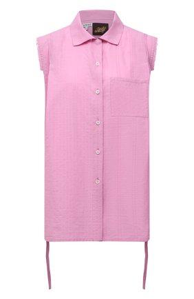 Женская хлопковая рубашка loewe x paula's ibiza LOEWE розового цвета, арт. S616Y06X09 | Фото 1 (Материал внешний: Хлопок; Стили: Романтичный; Женское Кросс-КТ: Рубашка-одежда; Принт: Без принта)