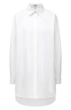 Женская хлопковая рубашка LOEWE белого цвета, арт. S359337XE4 | Фото 1 (Рукава: Длинные; Материал внешний: Хлопок; Стили: Романтичный; Принт: Без принта; Женское Кросс-КТ: Рубашка-одежда)