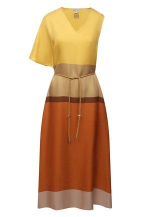 Женское шелковое платье LOEWE разноцветного цвета, арт. S359335XFZ | Фото 1 (Длина Ж (юбки, платья, шорты): Миди; Рукава: Короткие; Материал внешний: Шелк; Стили: Романтичный; Случай: Повседневный; Женское Кросс-КТ: Платье-одежда)