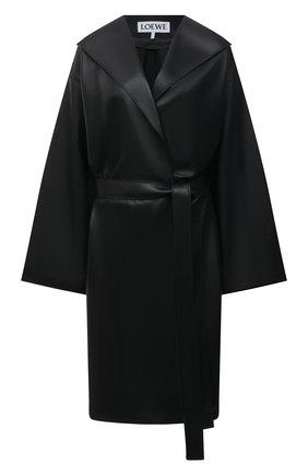 Женское кожаное пальто LOEWE черного цвета, арт. S359Y18L10 | Фото 1 (Длина (верхняя одежда): До колена; Рукава: Длинные; Стили: Гламурный)