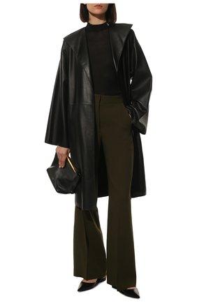 Женское кожаное пальто LOEWE черного цвета, арт. S359Y18L10 | Фото 2 (Длина (верхняя одежда): До колена; Рукава: Длинные; Стили: Гламурный)