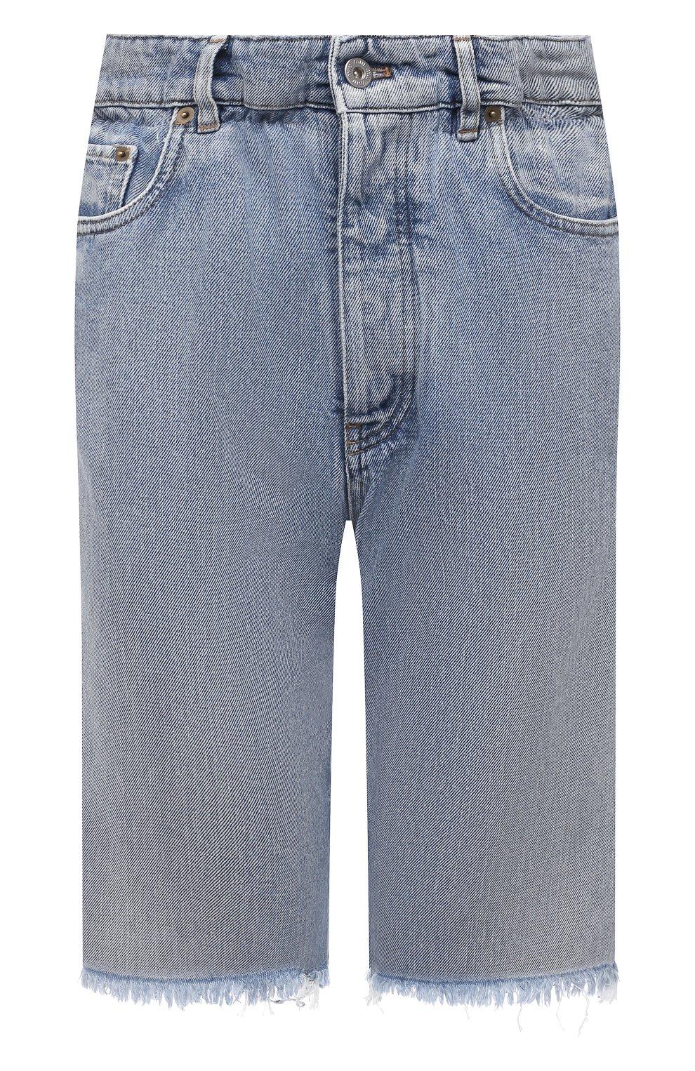 Женские джинсовые шорты MIU MIU голубого цвета, арт. GWP343-1SXP-F0013 | Фото 1 (Женское Кросс-КТ: Шорты-одежда; Стили: Гламурный; Кросс-КТ: Деним; Длина Ж (юбки, платья, шорты): Мини; Материал внешний: Хлопок)
