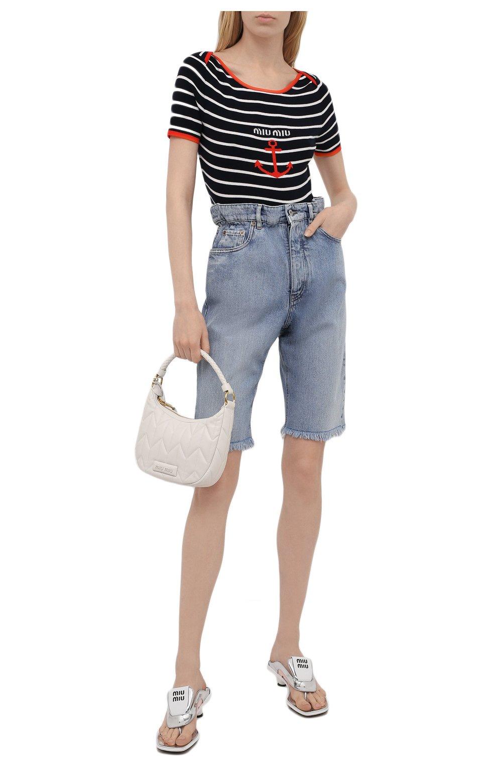 Женские джинсовые шорты MIU MIU голубого цвета, арт. GWP343-1SXP-F0013 | Фото 2 (Женское Кросс-КТ: Шорты-одежда; Стили: Гламурный; Кросс-КТ: Деним; Длина Ж (юбки, платья, шорты): Мини; Материал внешний: Хлопок)