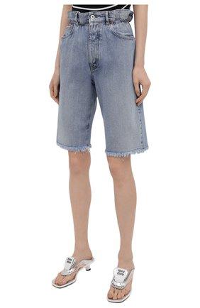 Женские джинсовые шорты MIU MIU голубого цвета, арт. GWP343-1SXP-F0013 | Фото 3 (Женское Кросс-КТ: Шорты-одежда; Стили: Гламурный; Кросс-КТ: Деним; Длина Ж (юбки, платья, шорты): Мини; Материал внешний: Хлопок)