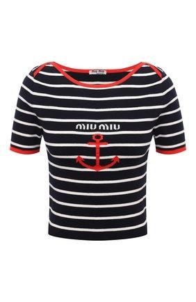 Женский хлопковый пуловер MIU MIU темно-синего цвета, арт. MML467-1Y6F-F0008 | Фото 1 (Материал внешний: Хлопок; Стили: Кэжуэл; Женское Кросс-КТ: Пуловер-одежда; Рукава: Короткие; Длина (для топов): Стандартные)