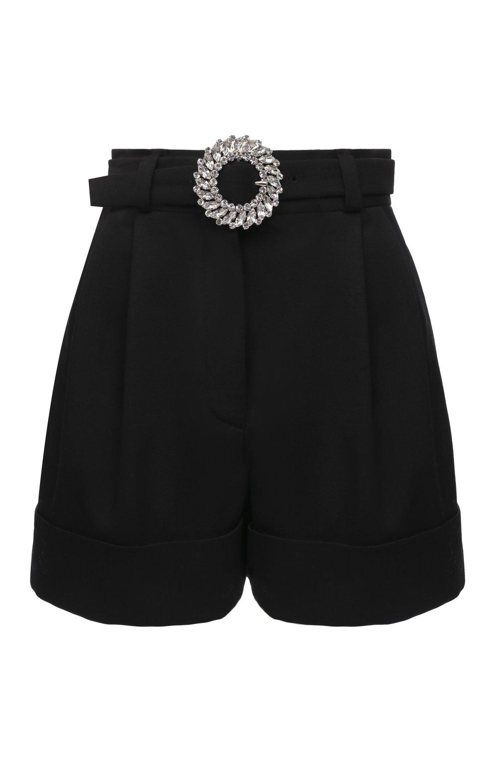 Женские шерстяные шорты MIU MIU черного цвета, арт. MP1406-1R1-F0002 | Фото 1 (Женское Кросс-КТ: Шорты-одежда; Материал внешний: Шерсть; Стили: Гламурный; Длина Ж (юбки, платья, шорты): Мини)