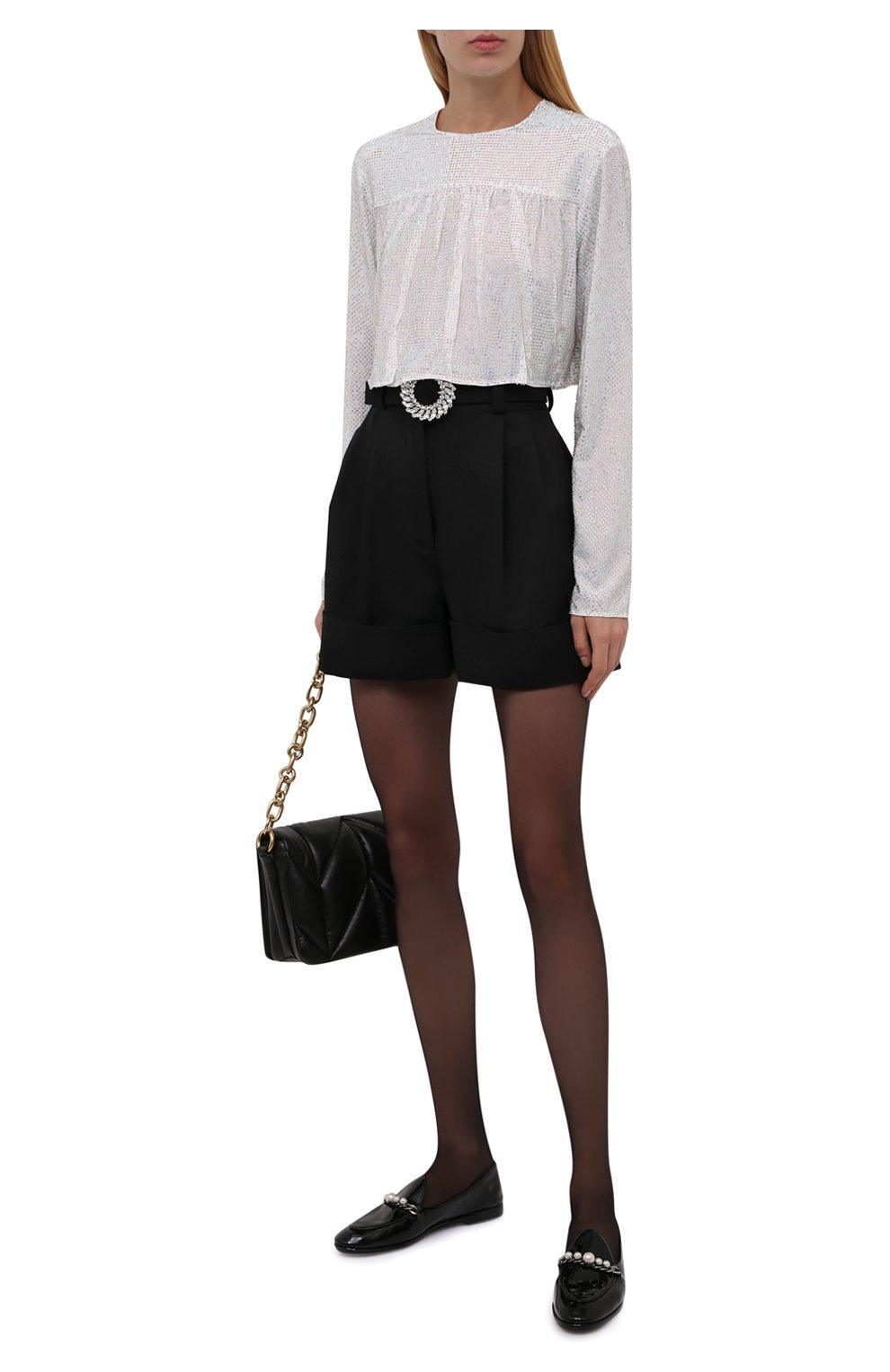 Женские шерстяные шорты MIU MIU черного цвета, арт. MP1406-1R1-F0002 | Фото 2 (Женское Кросс-КТ: Шорты-одежда; Материал внешний: Шерсть; Стили: Гламурный; Длина Ж (юбки, платья, шорты): Мини)