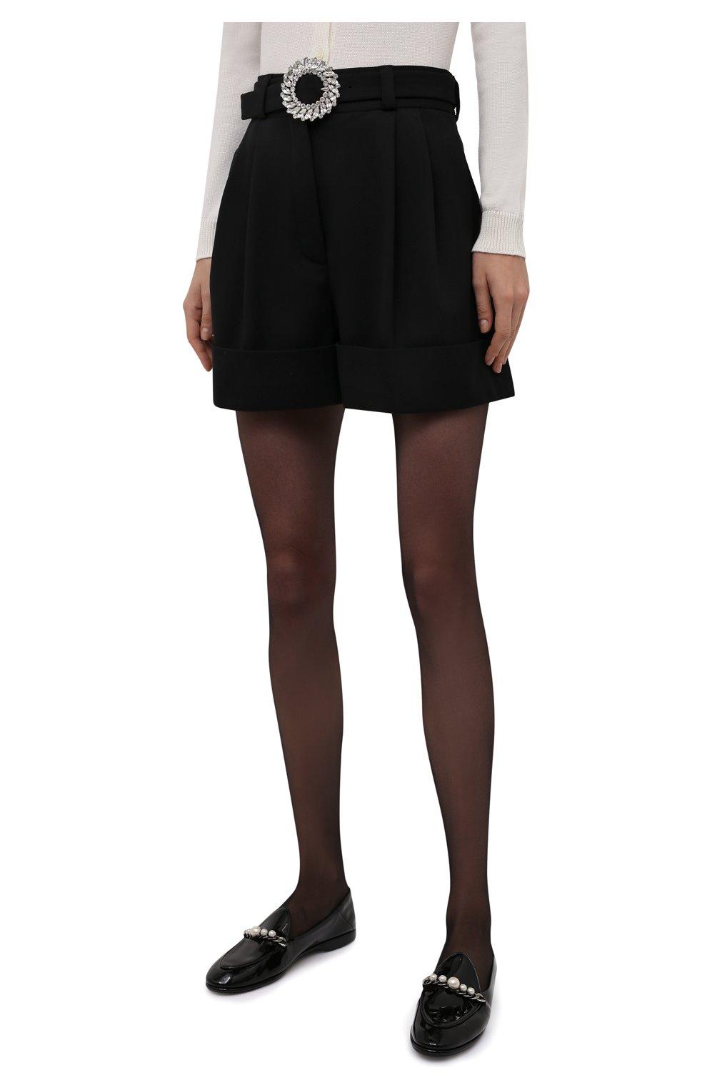 Женские шерстяные шорты MIU MIU черного цвета, арт. MP1406-1R1-F0002 | Фото 3 (Женское Кросс-КТ: Шорты-одежда; Материал внешний: Шерсть; Стили: Гламурный; Длина Ж (юбки, платья, шорты): Мини)
