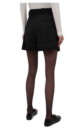 Женские шерстяные шорты MIU MIU черного цвета, арт. MP1406-1R1-F0002 | Фото 4 (Женское Кросс-КТ: Шорты-одежда; Материал внешний: Шерсть; Стили: Гламурный; Длина Ж (юбки, платья, шорты): Мини)