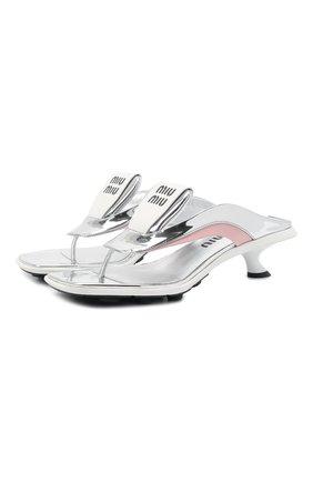 Женские мюли MIU MIU разноцветного цвета, арт. 5Y497D-3LD7-F003Q-A055 | Фото 1 (Материал внешний: Текстиль, Экокожа; Подошва: Плоская; Каблук тип: Kitten heel; Каблук высота: Низкий)