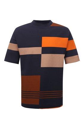 Мужская хлопковая футболка BOSS темно-синего цвета, арт. 50450221 | Фото 1