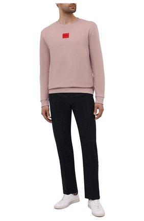 Мужской хлопковый свитшот HUGO розового цвета, арт. 50447964 | Фото 2