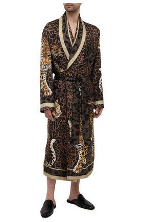 Мужской шелковый халат DOLCE & GABBANA леопардового цвета, арт. G0936T/FI16F | Фото 2