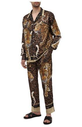 Мужские шелковые домашние брюки DOLCE & GABBANA леопардового цвета, арт. GYB0HT/FI16G | Фото 2