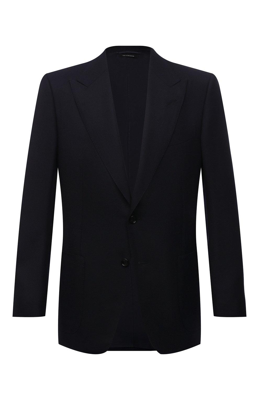 Мужской шерстяной пиджак TOM FORD темно-синего цвета, арт. 211R67/11HA40   Фото 1