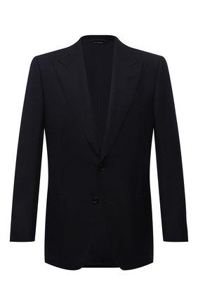 Мужской шерстяной пиджак TOM FORD темно-синего цвета, арт. 211R67/11HA40 | Фото 1