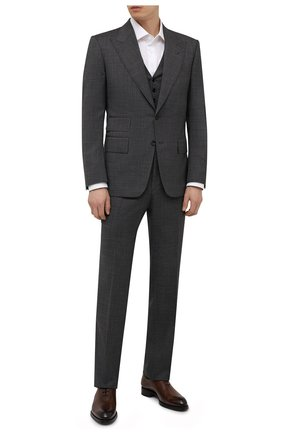 Мужской шерстяной костюм-тройка TOM FORD серого цвета, арт. 211R20/31AL43 | Фото 1