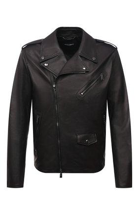 Мужская кожаная куртка DOLCE & GABBANA черного цвета, арт. G9UB1L/GEU47 | Фото 1 (Длина (верхняя одежда): Короткие; Кросс-КТ: Куртка; Стили: Кэжуэл; Рукава: Длинные; Мужское Кросс-КТ: Кожа и замша; Материал подклада: Вискоза)