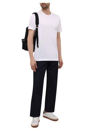 Мужская хлопковая футболка KNT белого цвета, арт. UMM0171 | Фото 2 (Длина (для топов): Стандартные; Рукава: Короткие; Материал внешний: Хлопок; Принт: Без принта; Стили: Кэжуэл)